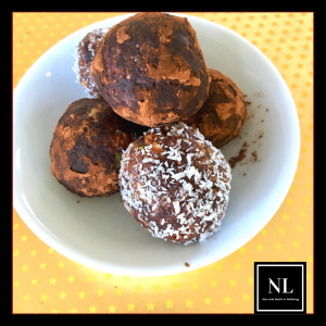 chocolate mocha and coconut bliss balls