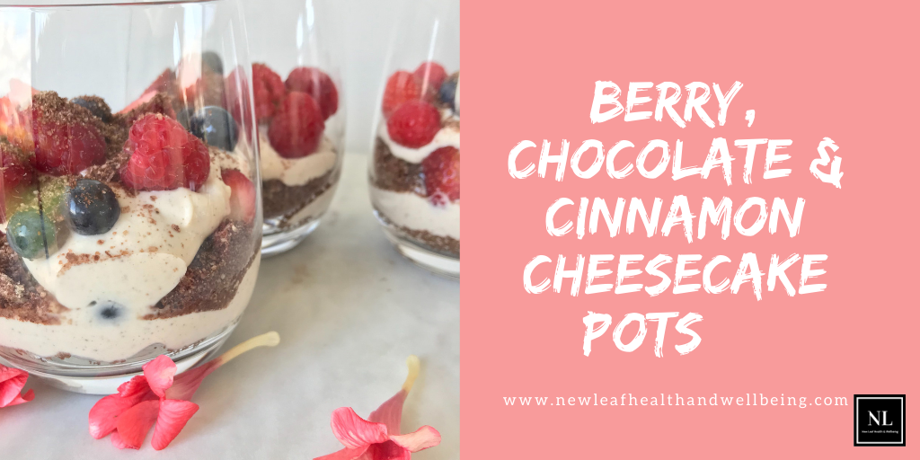 berry chocolate cinnamon cheesecake pots
